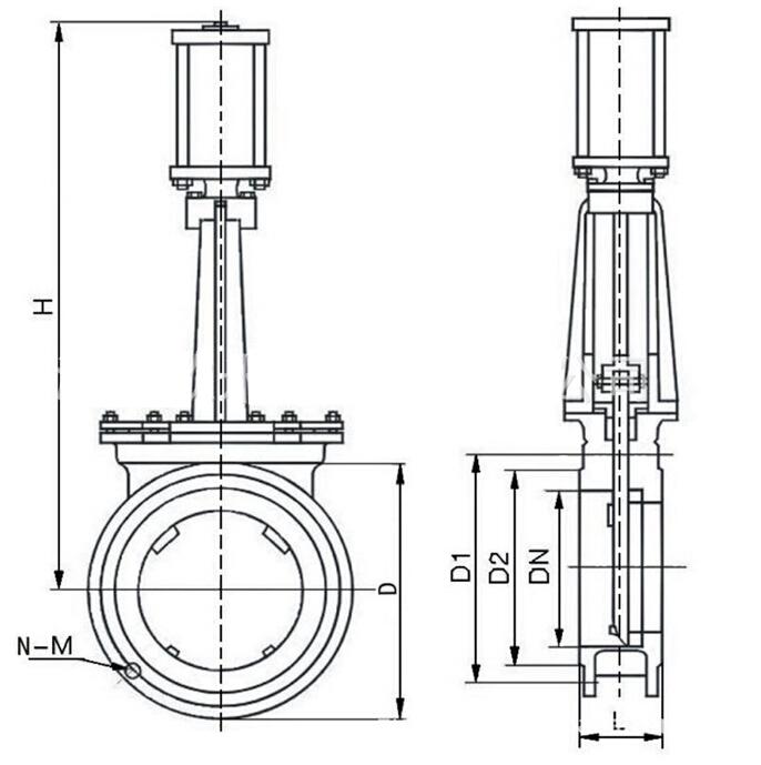 PZ673H气动刀型闸阀结构图