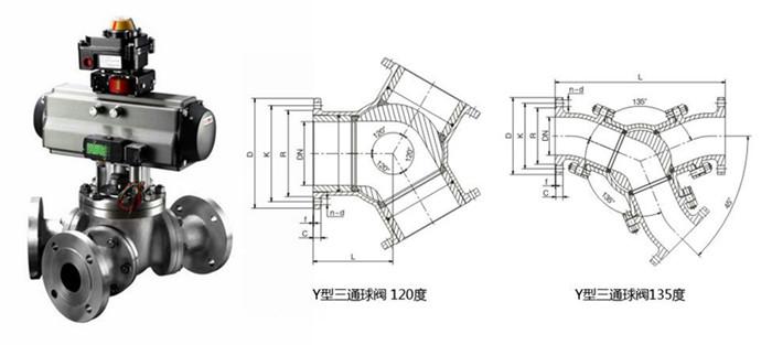 气动Y型三通球阀图