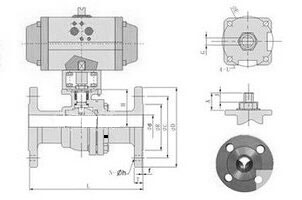 气动法兰球阀结构图