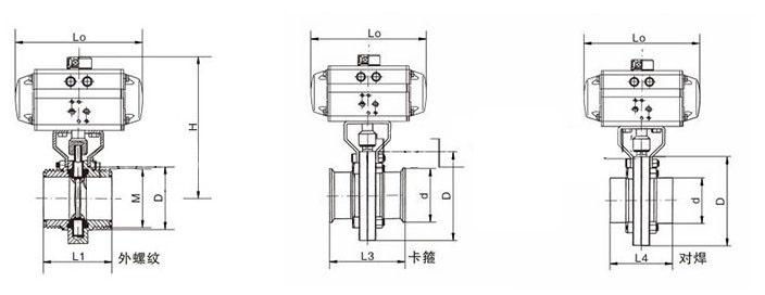气动卫生级蝶阀结构图