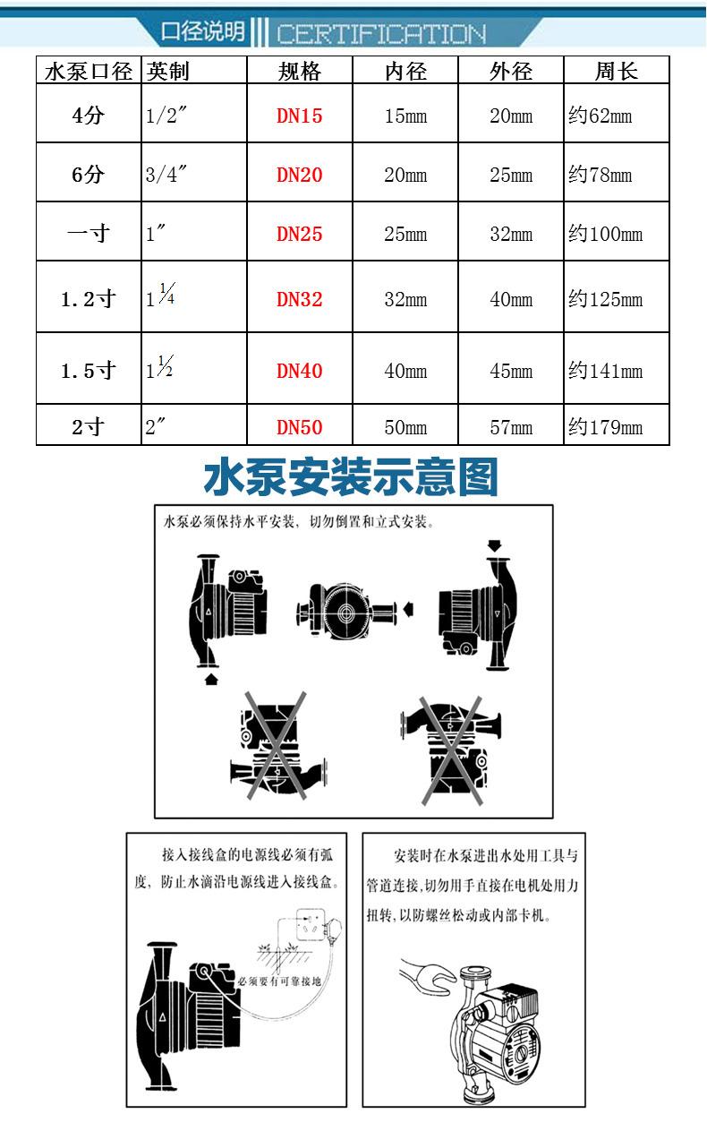 地暖循环泵安装尺寸