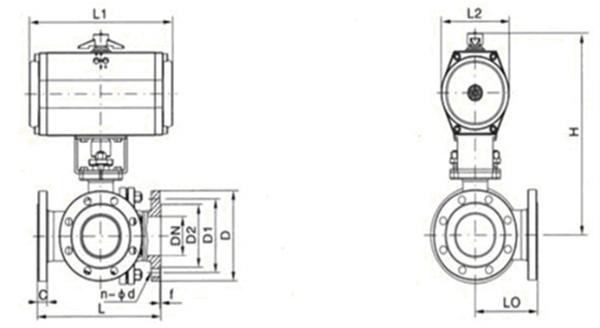气动不锈钢衬氟三通球阀图