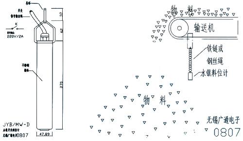 JYB/MW-D水银开关式料位计安装与接线图