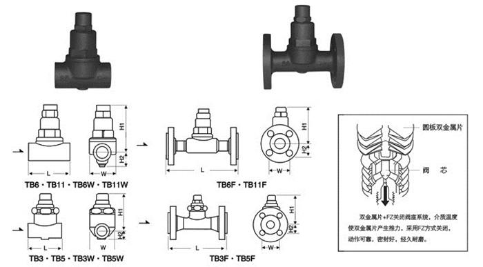 TB可调双金属片式疏水阀图